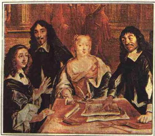 Desde que foram formulados, os princípios cartesianos têm servido para o avanço da ciência. Na gravura, Descartes cercado por estudiosos e admiradores