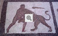 Mozaico com a Ilustração de Hercules contra o Leão de Neméia