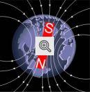 Linhas do campo magnético terrestre.