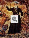 Padre jesuíta Antônio Vieira em gravura que representa o padre convertendo índios na Amazônia.