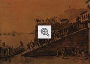 O quadro de Debret retrata o embarque da Família Real de volta a Portugal em abril de 1821.