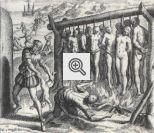 Barbaridades cometidas pelos espanhóis contra os índios. Por Theodore de Bry